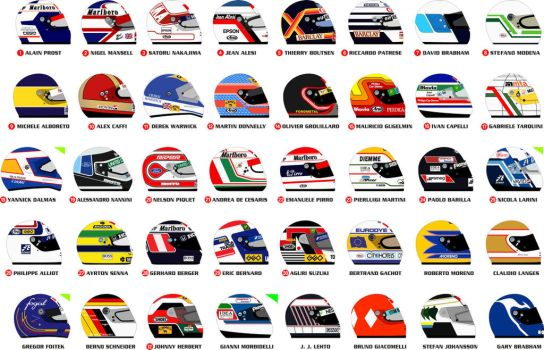 F1 1990 helmets by ppg1977