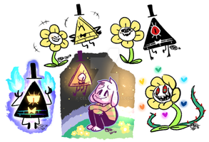 Bill And Flowey sketches by Celebi9