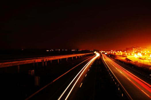 Highway at night by skypho