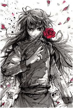 Kurama Ink sketch from Yu Yu Hakusho by MyCKs
