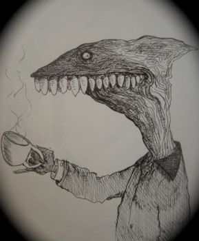 Dinosaur drinking coffee by thebigduluth