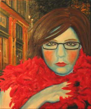 Lady with Glasses and Feather Boa by gadiv