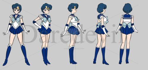 My Full Rotation Models Sheet of Sailor Mercury by daredevil06