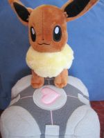 Eevee and Companion Cube~ by Magikarpette
