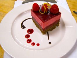 Raspberry Mousse Cake by BrightlyWound455