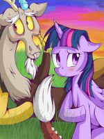 Discord and Twilight Sparkle by Carnivore2Die4