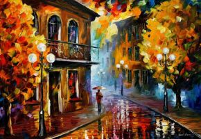 Fall Rain 2 by Leonid Afremov by Leonidafremov