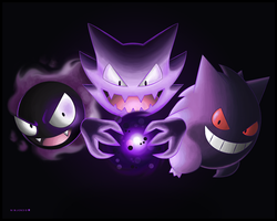 Gastly, Haunter and Gengar by Ninjendo