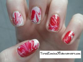 Water marble nail art by TiredZombie98