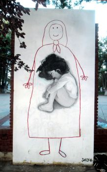 Street art for the missing people in Argentina by Johnny-Aza