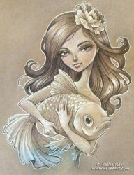 Girl with a Goldfish by KelleeArt