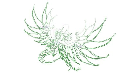 Jade in dragon form -lineart- by catgir