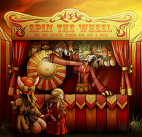 Edith working 'Spin-the-wheel' Game booth by coyotepack