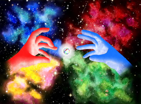 Master Hand and Crazy Hand and the Smash Ball by Multicolored-Man