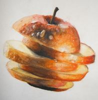 Apple slices by Hedwigs-art