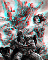 Justice League by Lee Bermejo in 3D Anaglyph by xmancyclops