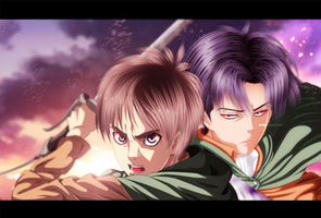 Attack on titan-levi and eren [[collab]] by sAmA15