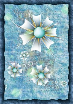 White Flowers Blue And Gold by KirstenStar