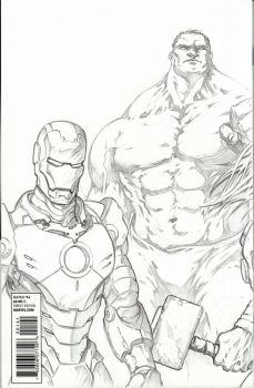 Marvel Avengers Assemble Varient #1 Back Pencils by timwann