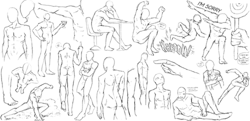 One Guy, Many Poses (anatomy practice i guess) by FishStickMystic