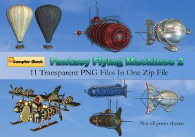 Fantasy Flying Machines PNG Stock Pack 2 by Roy3D
