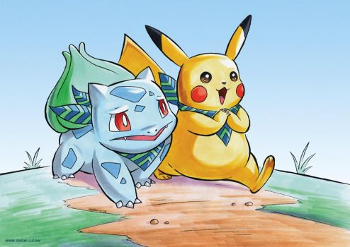 Bulbasaur and Pikachu by snow-j