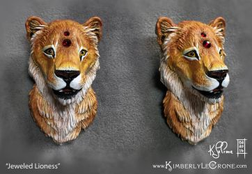 Jeweled Lioness Sculpture by Dreamspirit