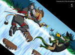 Waterfall Brawl by A-Fox-Of-Fiction
