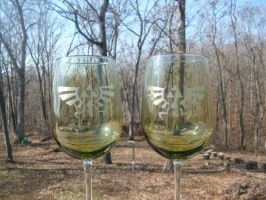 Zelda Royal-Hylian Crest Green Tint WineGlass Set by ZombieBunnySlaya
