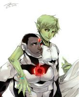 Beast Boy and Cyborg by Hephaise