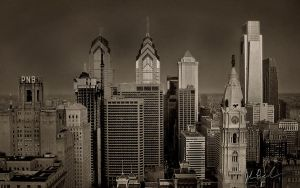 Philly Skyline 2008 - BW by barefootphotography