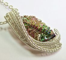 Small Woven Bismuth Crystal Necklace in Silver by HeatherJordanJewelry
