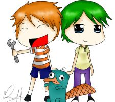 AT- Phineas, Ferb and Perry by girlz-rock