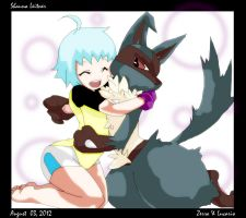 Lucario and Trainer by PurpleRainbowXD
