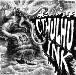 Cthulhu Ink - cider label by nightserpent