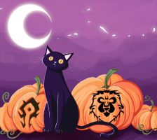 Carved pumkins and a cat by Salayanara
