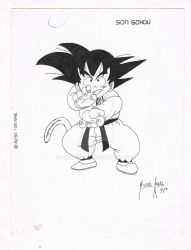 Gokuh   Pen Drawing by Arquimista