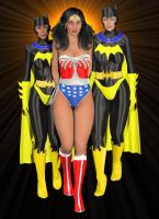 Wonder Curia cuffed by Bat Babes Melissa and Kayla by spacebabes