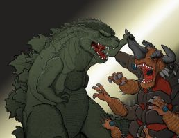 Godzilla 2014 Vs. Bagan by Gorosaurus