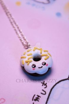 Kawaii face donut with yellow sprinkles necklace by CharmsByIzzy