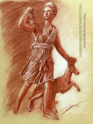 Artemis with a Doe Study by AmBr0