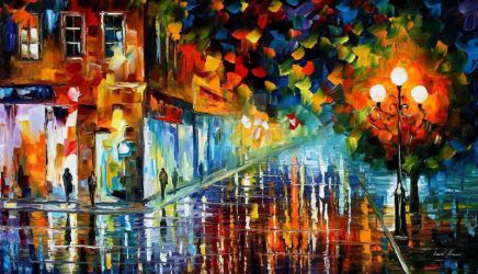 Washed Boulevard by Leonid Afremov by Leonidafremov