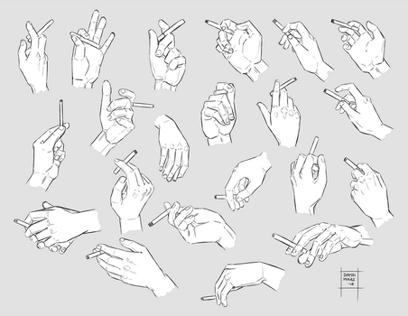 Sketchdump March 2018 [Hands with cigarettes] by DamaiMikaz
