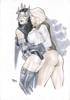 Huntress And Powergirl by Fredbenes