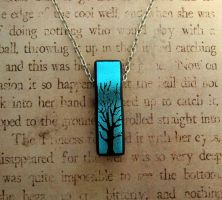 Bail Free Tree of Life Pendant Necklace Blue by FusedElegance