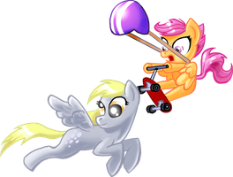 Derpy Hooves and Scootaloo by shadow-rhapsody