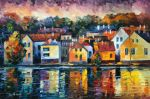 City of river by Leonid Afremov by Leonidafremov