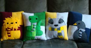 Harry Potter house mascot pillows by Telahmarie