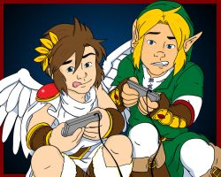 Pit and Link Play Video Games by Jaymzeecat