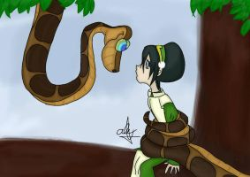 Kaa coiling Toph by JHEKSan2